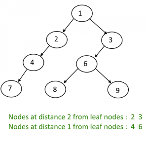 Print All The Nodes Which are X distance from the Leaf Nodes